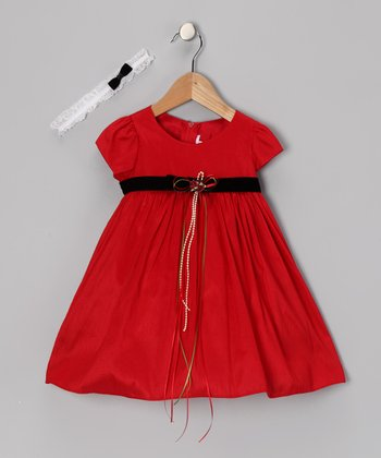 Red Rose Dress & Headband - Infant, Toddler & Girls