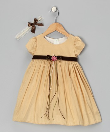 Taupe Rose Cap-Sleeve Dress & Headband - Infant, Toddler & Girls