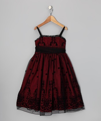 Black & Red Floral Dress - Toddler & Girls