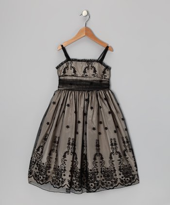 Black & Champagne Floral Dress - Toddler & Girls