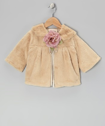 Gold Rose Faux Fur Jacket - Infant, Toddler & Girls