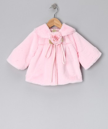 Light Pink Rose Faux Fur Jacket - Infant, Toddler & Girls