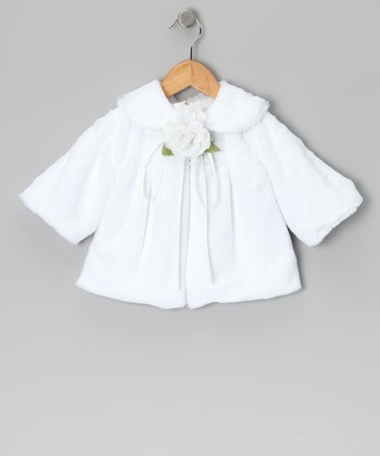 White Rose Faux Fur Jacket - Toddler & Girls