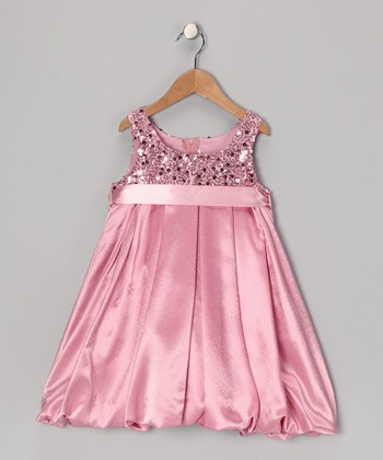Pink Sequin Bubble Dress - Toddler & Girls