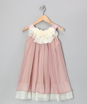 Pink & White Floral Yoke Dress - Girls