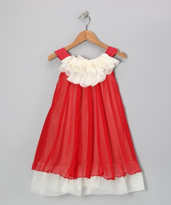 Red & White Floral Yoke Dress - Toddler & Girls