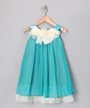 Turquoise & White Floral Yoke Dress - Girls