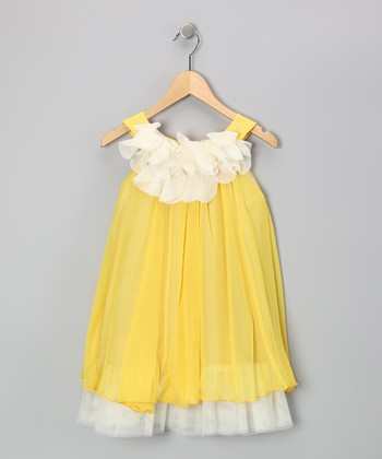 Yellow & White Floral Yoke Dress - Toddler & Girls