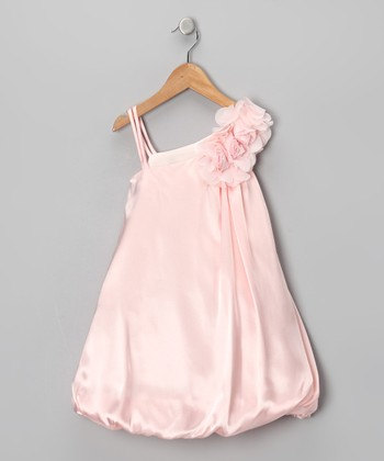 Pink Chiffon Flower Bubble Dress - Girls