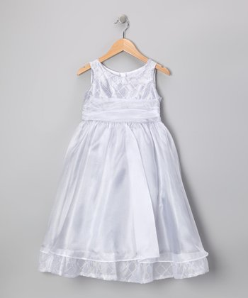 Silver Organza Beaded Dress - Toddler & Girls