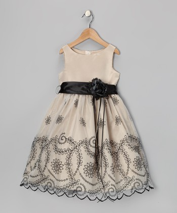Champagne Embroidered Flower Dress - Girls