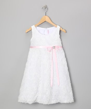 Pink & White Rosette Dress - Toddler & Girls