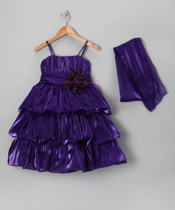 Eggplant Flower Organza Dress Set - Toddler & Girls