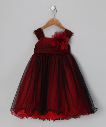 Red & Black Flower Dress - Toddler & Girls