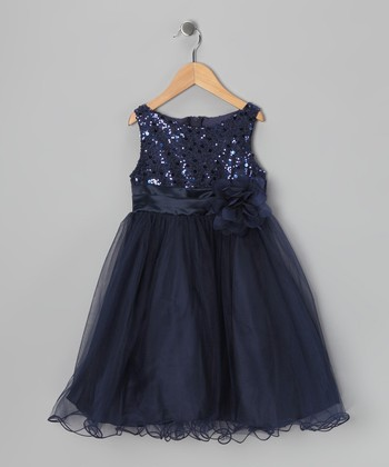 Navy Sequin Tulle A-Line Dress - Infant, Toddler & Girls