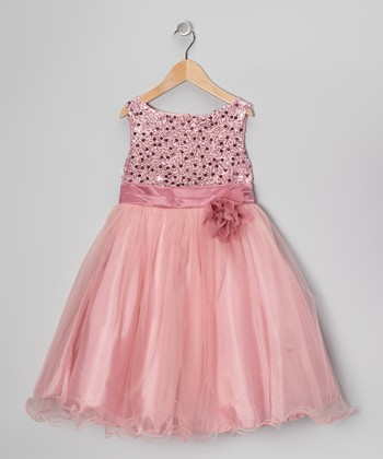 Rose Sequin Tulle A-Line Dress - Toddler & Girls