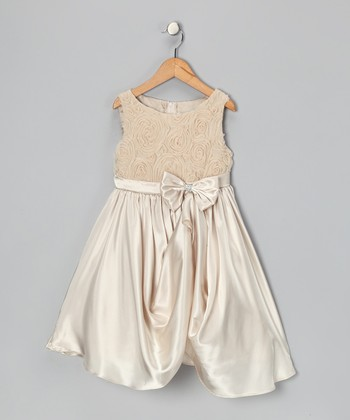 Champagne Rosette Gathered Dress - Toddler & Girls