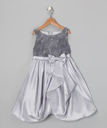 Silver Rosette Gathered Dress - Toddler & Girls