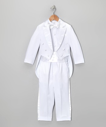 White Five-Piece Tailcoat Tuxedo Set - Infant, Toddler & Boys