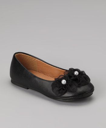 Black Flower Ballerina Flat