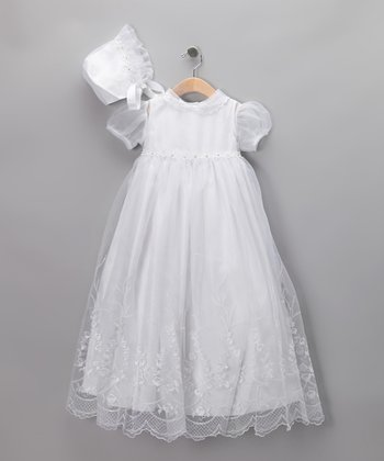 Kid's Dream White Organza Christening Gown Set - Infant