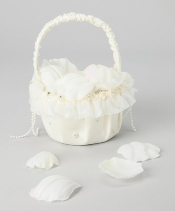 Ivory Pearl Flower Girl Basket