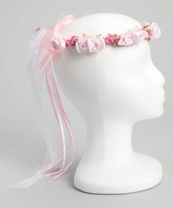 Pink Silk Flower Bow Halo