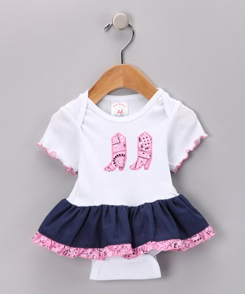 Denim & Pink Bandanna Skirted Bodysuit - Infant