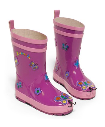 Purple Butterfly Rain Boot