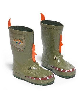Green Dinosaur Rain Boot
