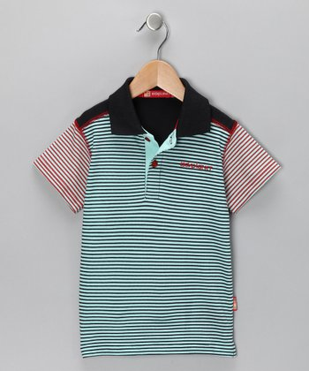 Teal & Red Stripe Polo - Toddler & Boys