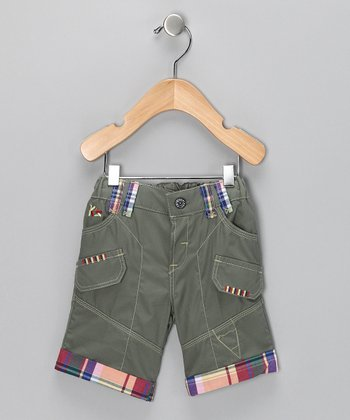 Steel Contrast Plaid Shorts - Boys