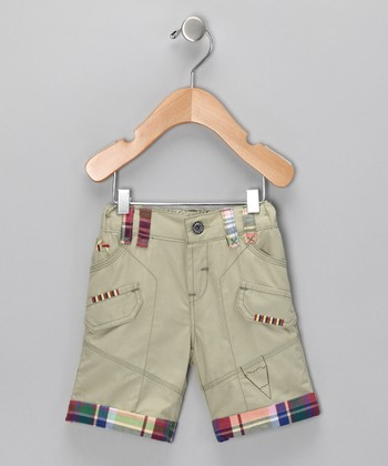 Light Olive Contrast Plaid Shorts - Infant & Boys