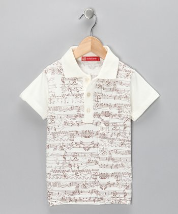 Brown Music Note Polo - Toddler & Boys