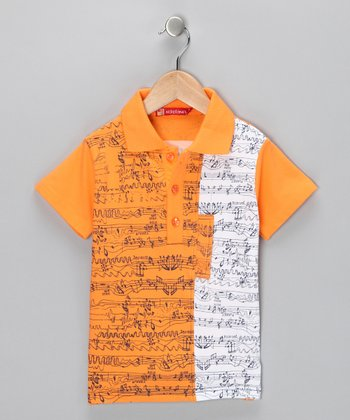 Orange & White Music Note Polo - Toddler & Boys