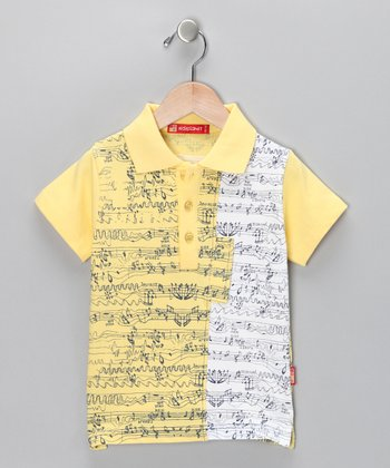 Yellow Music Note Polo - Toddler