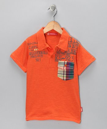 Orange 'KS' Polo - Toddler & Boys