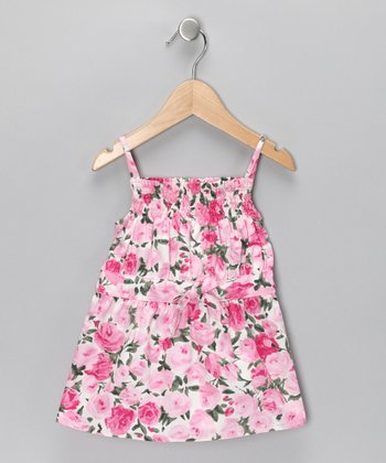 Pink Floral Swing Top - Girls