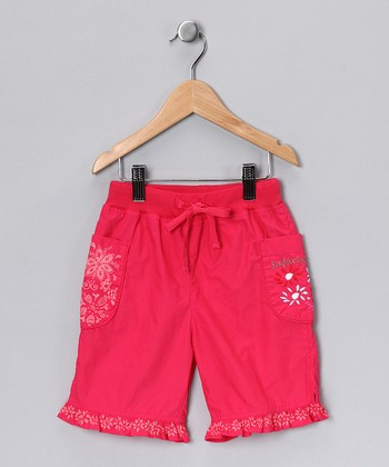 Fuchsia Flower Ruffle Shorts - Toddler & Girls