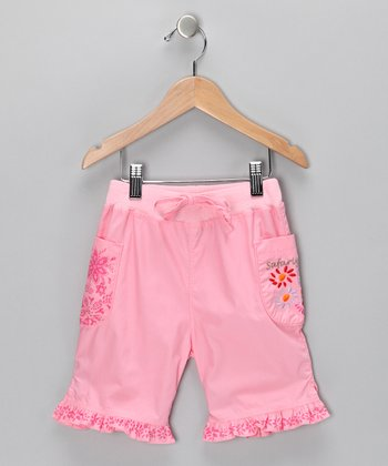 Pink Flower Ruffle Shorts - Toddler & Girls