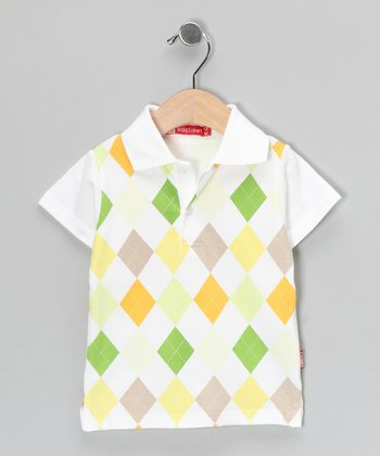 White & Green Argyle Polo - Infant, Toddler & Boys