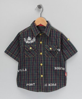 Green Plaid 'Port' Button-Up - Toddler & Boys