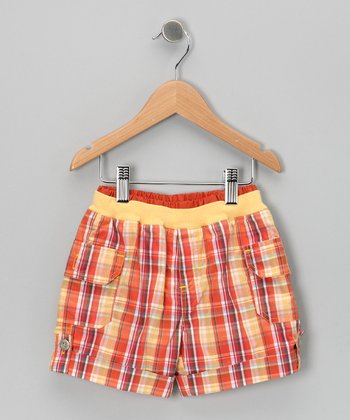 Orange Plaid Shorts - Toddler & Boys