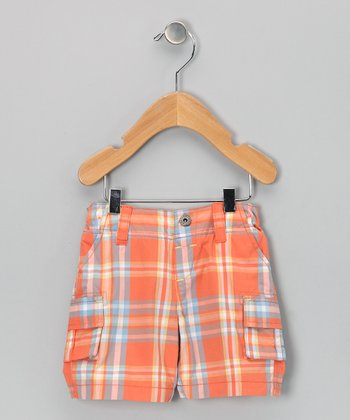 Orange Plaid Cargo Shorts - Infant, Toddler & Boys