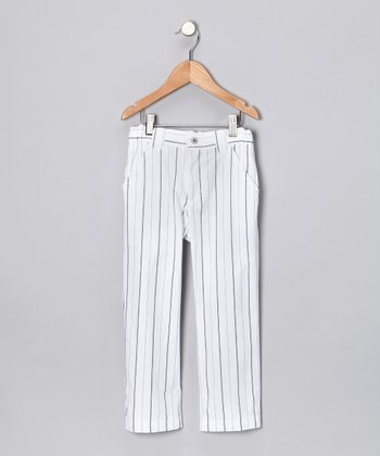 White Pinstripe Pants - Infant, Toddler & Boys