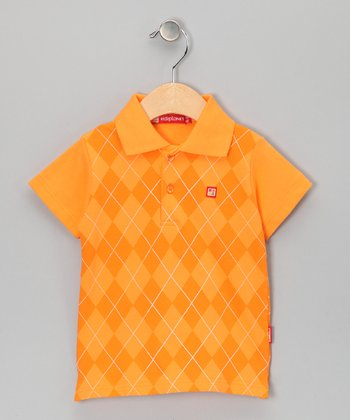 Orange Argyle Polo - Infant