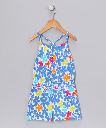 Blue Floral Romper - Girls