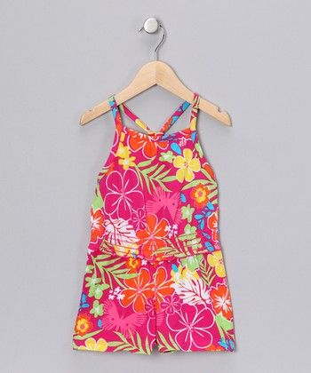 Pink & Orange Floral Romper - Girls