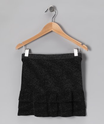 Black Sparkle Ruffle Skirt