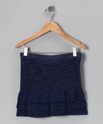 Navy Sparkle Ruffle Skirt
